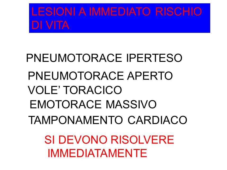 LESIONI A IMMEDIATO RISCHIO DI VITA PNEUMOTORACE IPERTESO PNEUMOTORACE APERTO VOLE TORACICO TAMPONAMENTO CARDIACO EMOTORACE MASSIVO SI DEVONO RISOLVERE IMMEDIATAMENTE
