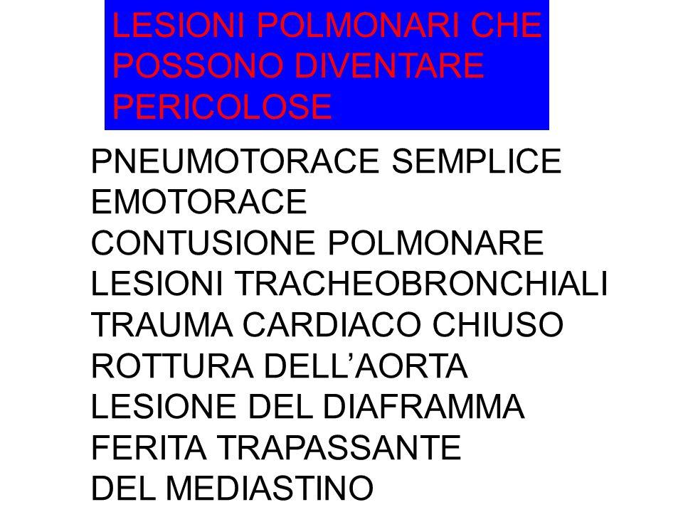 LESIONI POLMONARI CHE POSSONO DIVENTARE PERICOLOSE PNEUMOTORACE SEMPLICE EMOTORACE CONTUSIONE POLMONARE LESIONI TRACHEOBRONCHIALI TRAUMA CARDIACO CHIUSO ROTTURA DELLAORTA LESIONE DEL DIAFRAMMA FERITA TRAPASSANTE DEL MEDIASTINO