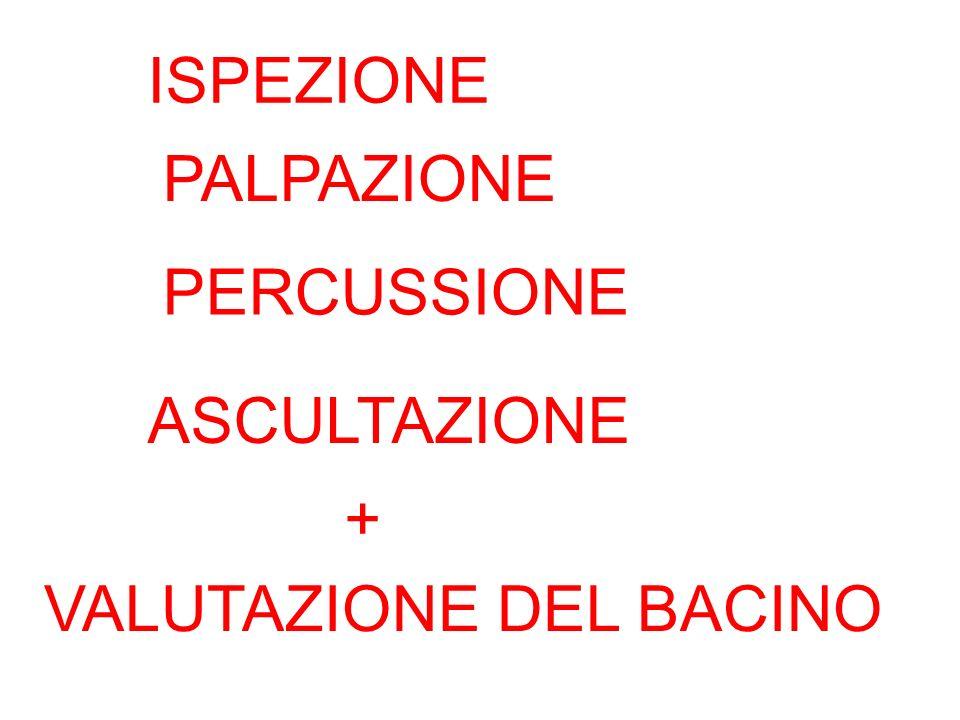 ISPEZIONE PALPAZIONE PERCUSSIONE ASCULTAZIONE + VALUTAZIONE DEL BACINO