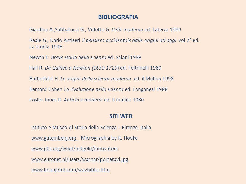 BIBLIOGRAFIA Giardina A.,Sabbatucci G., Vidotto G. Letà moderna ed. Laterza 1989 Reale G., Dario Antiseri Il pensiero occidentale dalle origini ad ogg