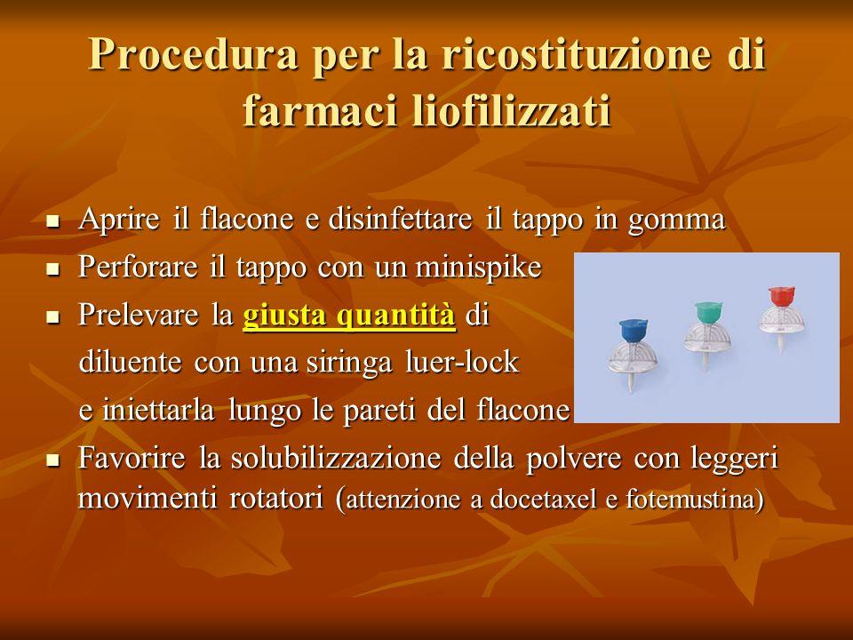 Procedura per la ricostituzione di farmaci liofilizzati Aprire il flacone e disinfettare il tappo in gomma Aprire il flacone e disinfettare il tappo i