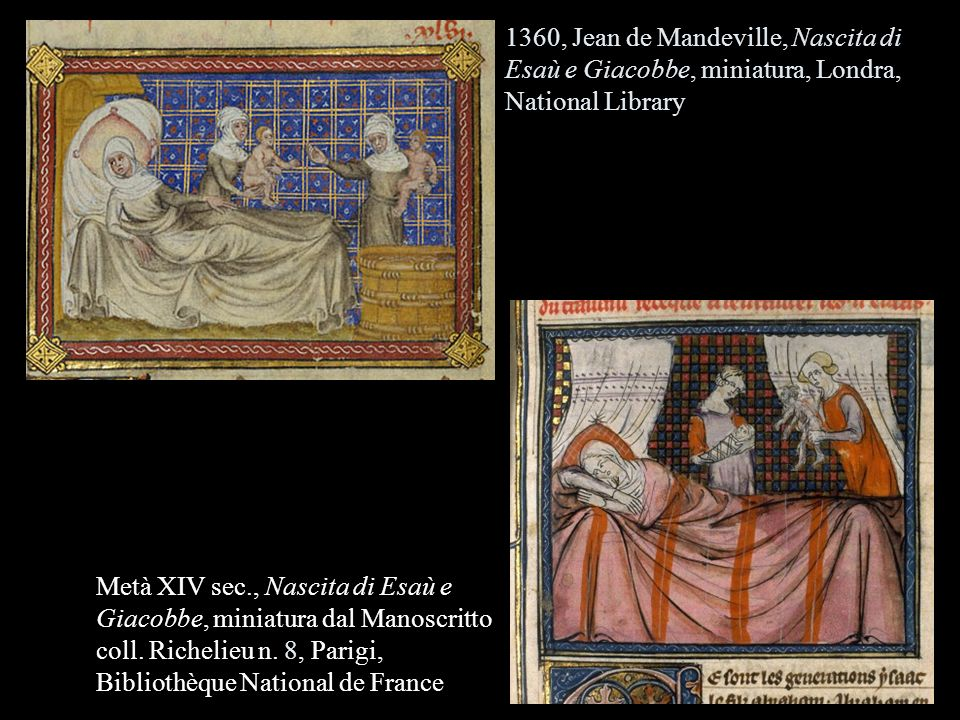 1360, Jean de Mandeville, Nascita di Esaù e Giacobbe, miniatura, Londra, National Library Metà XIV sec., Nascita di Esaù e Giacobbe, miniatura dal Man