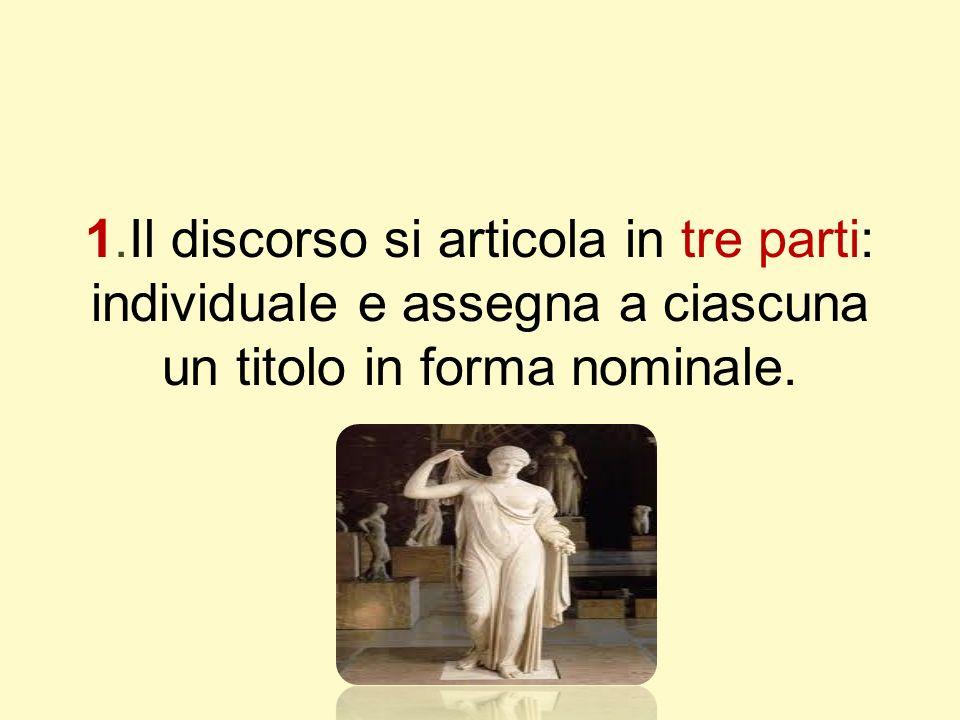 1.Il discorso si articola in tre parti: individuale e assegna a ciascuna un titolo in forma nominale.