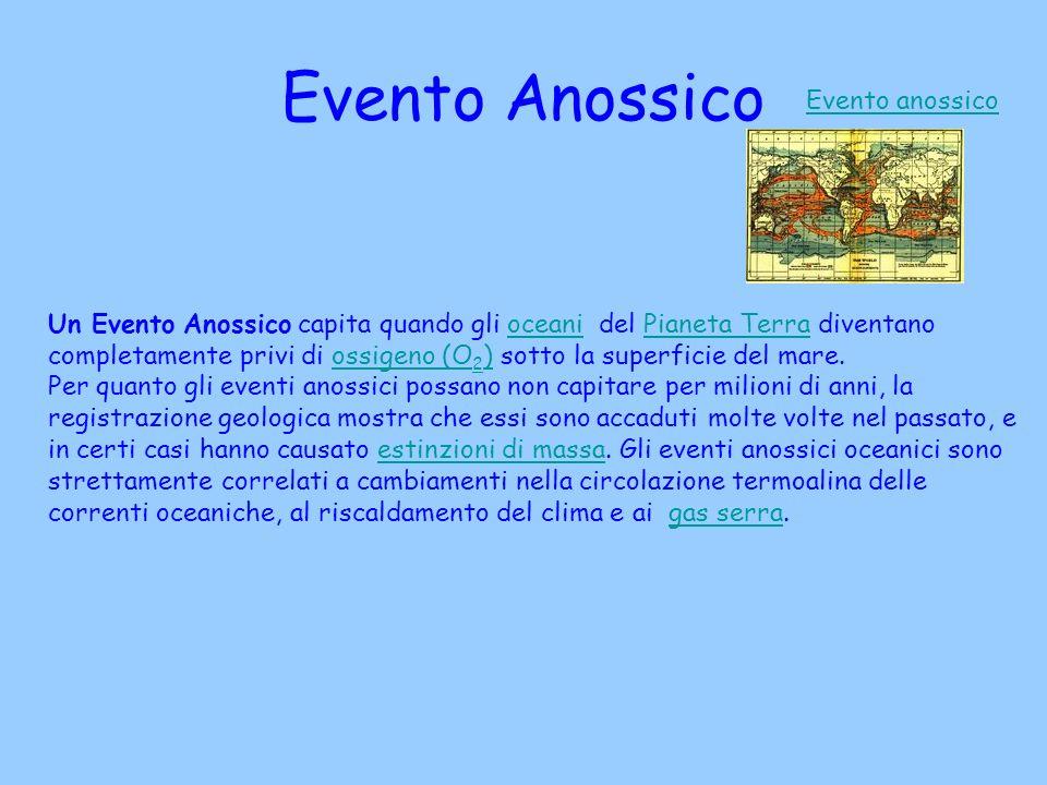 Evento Anossico Evento anossico Un Evento Anossico capita quando gli oceani del Pianeta Terra diventano completamente privi di ossigeno (O 2 ) sotto l