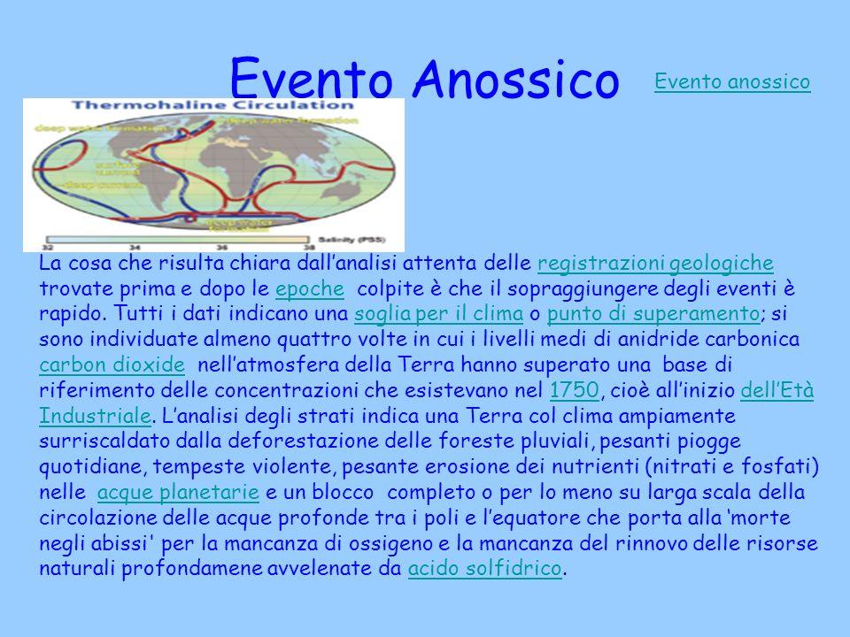 Evento Anossico Evento anossico La cosa che risulta chiara dallanalisi attenta delle registrazioni geologiche trovate prima e dopo le epoche colpite è che il sopraggiungere degli eventi è rapido.