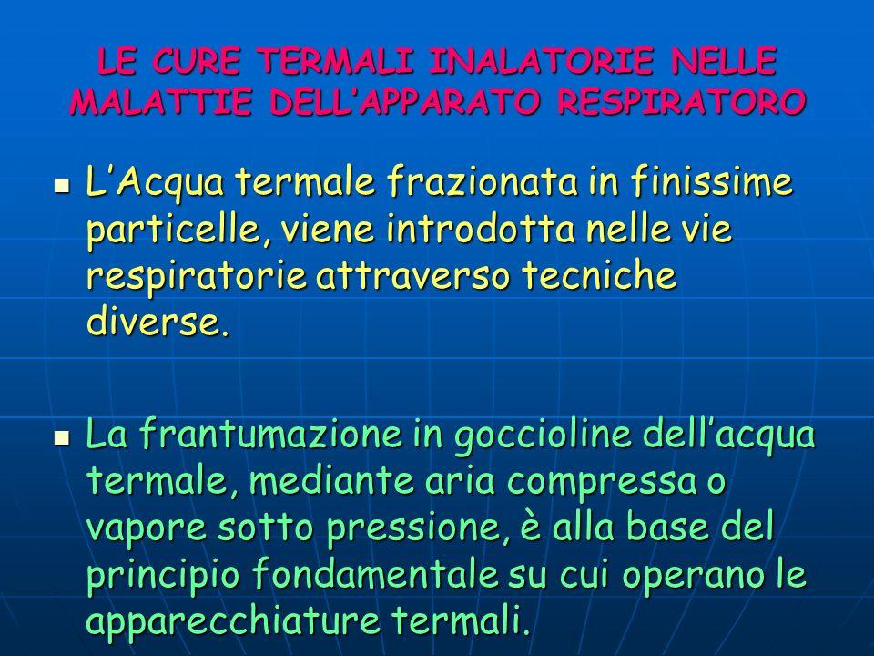 LE CURE TERMALI INALATORIE NELLE MALATTIE DELLAPPARATO RESPIRATORO LAcqua termale frazionata in finissime particelle, viene introdotta nelle vie respi