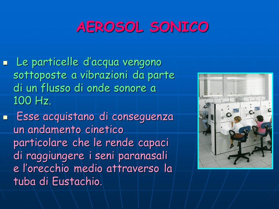 AEROSOL SONICO Le particelle dacqua vengono sottoposte a vibrazioni da parte di un flusso di onde sonore a 100 Hz. Le particelle dacqua vengono sottop