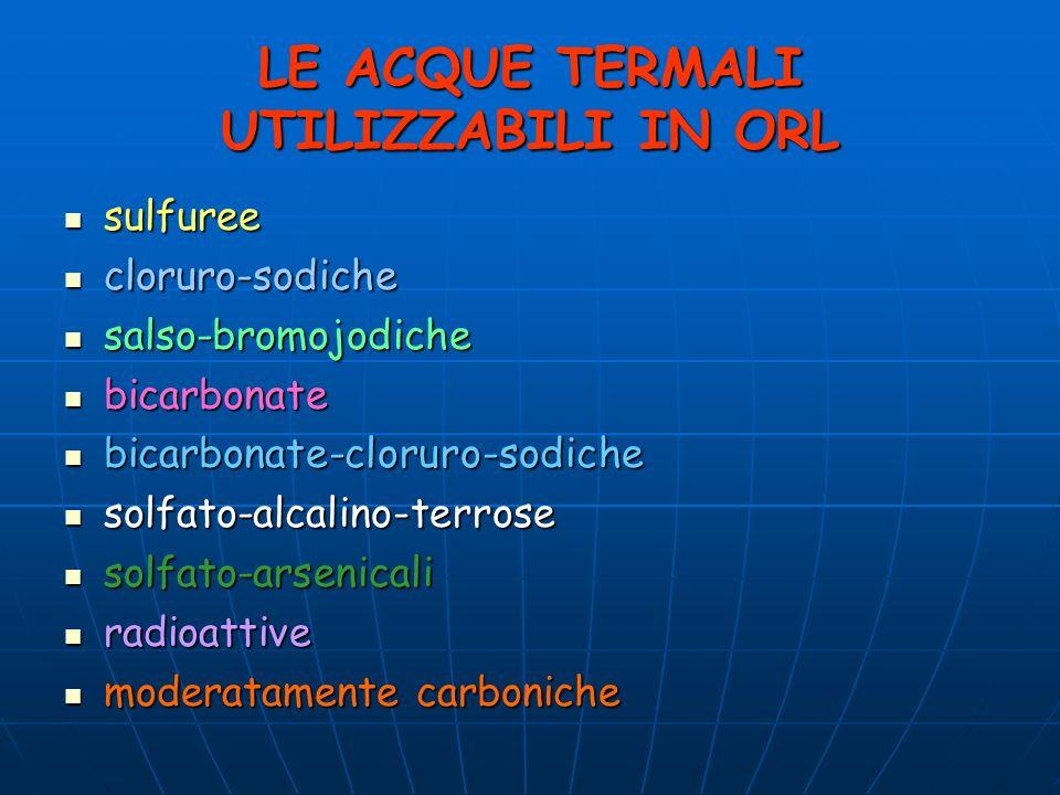 LE ACQUE TERMALI UTILIZZABILI IN ORL sulfuree sulfuree cloruro-sodiche cloruro-sodiche salso-bromojodiche salso-bromojodiche bicarbonate bicarbonate b