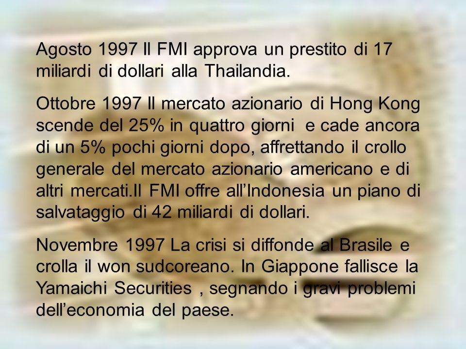 Dicembre 1997 Il FMI approva un prestito di 58 miliardi per il salvataggio delleconomia Sudcorena in rapido deterioramento Gennaio 1998 Il FMI e LIndonesia firmano un accordo sulle riforme economiche mentre lIndonesia affonda sempre più nella crisi Aprile 1998 Leconomia Giapponese mostra segni di gravi difficoltà.