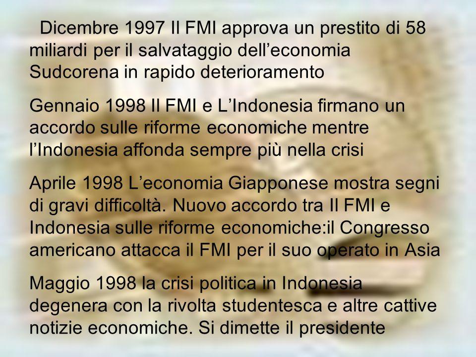 Dicembre 1997 Il FMI approva un prestito di 58 miliardi per il salvataggio delleconomia Sudcorena in rapido deterioramento Gennaio 1998 Il FMI e LIndo