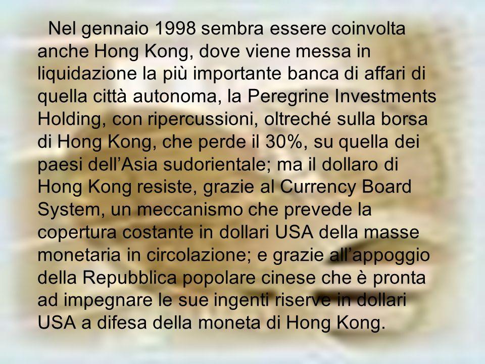 Nel gennaio 1998 sembra essere coinvolta anche Hong Kong, dove viene messa in liquidazione la più importante banca di affari di quella città autonoma,