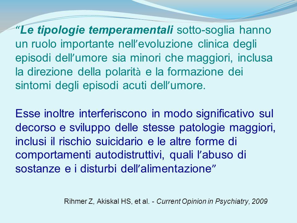 Le tipologie temperamentali sotto-soglia hanno un ruolo importante nell evoluzione clinica degli episodi dell umore sia minori che maggiori, inclusa l