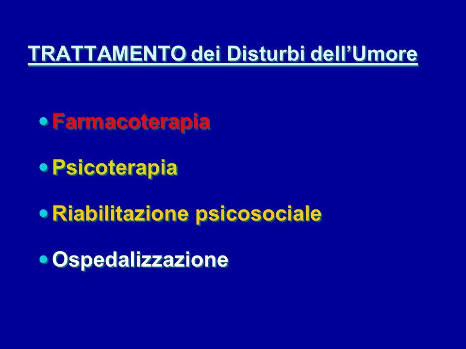 TRATTAMENTO dei Disturbi dellUmore Farmacoterapia Psicoterapia Riabilitazione psicosociale Ospedalizzazione Farmacoterapia Psicoterapia Riabilitazione psicosociale Ospedalizzazione