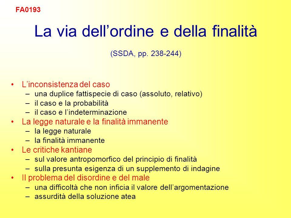 La via dellordine e della finalità (SSDA, pp.