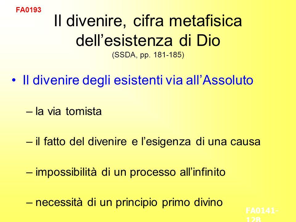 Il divenire, cifra metafisica dellesistenza di Dio (SSDA, pp.
