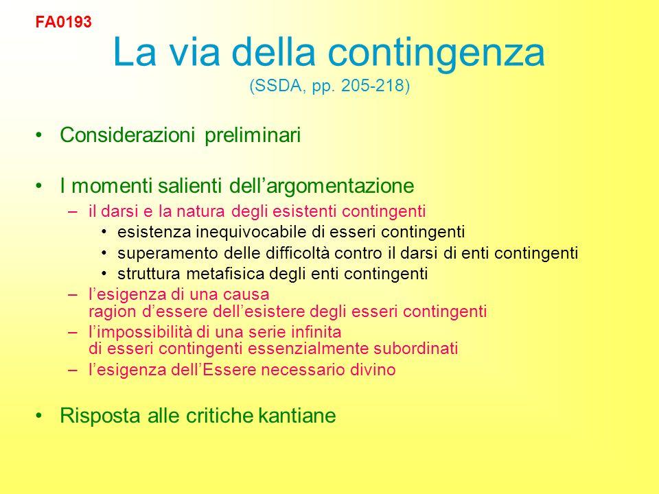 La via della contingenza (SSDA, pp.