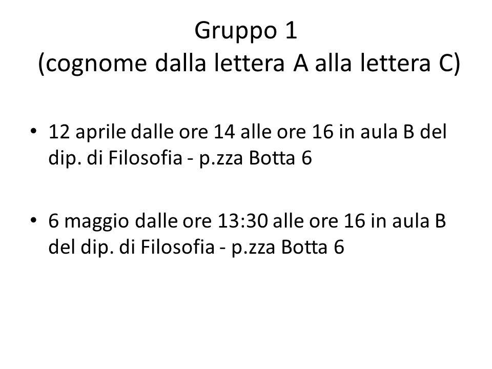Gruppo 1 (cognome dalla lettera A alla lettera C) 12 aprile dalle ore 14 alle ore 16 in aula B del dip. di Filosofia - p.zza Botta 6 6 maggio dalle or