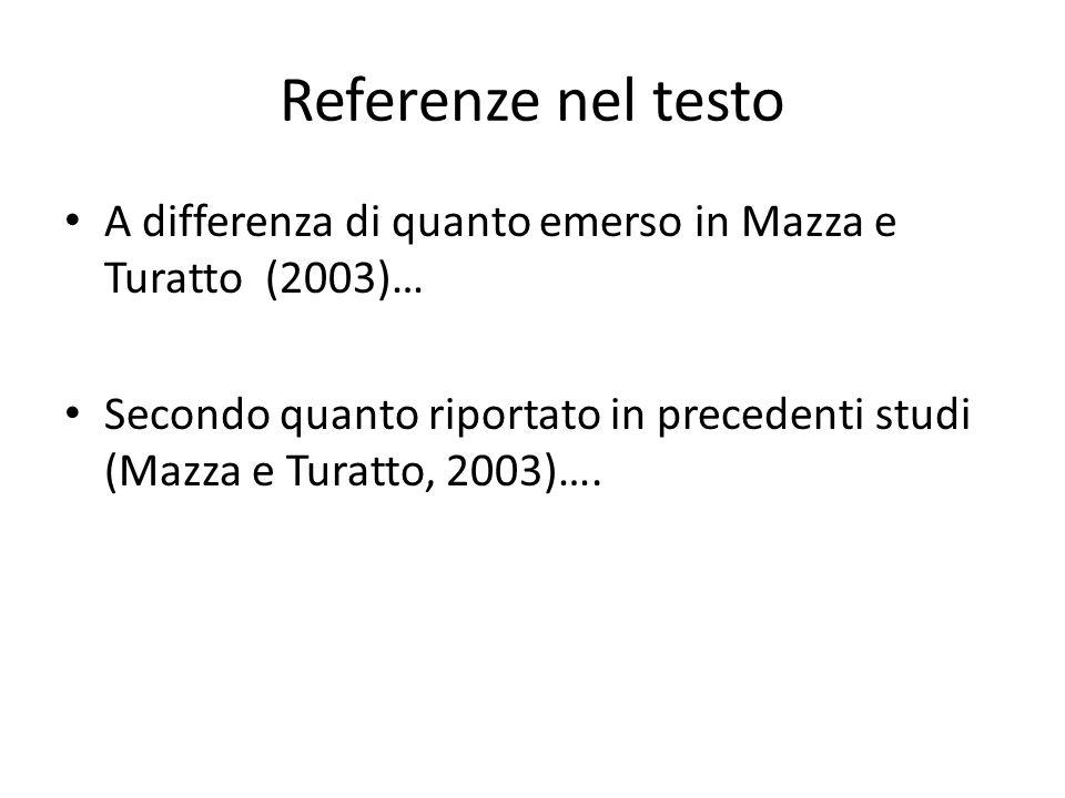 Referenze nel testo A differenza di quanto emerso in Mazza e Turatto (2003)… Secondo quanto riportato in precedenti studi (Mazza e Turatto, 2003)….