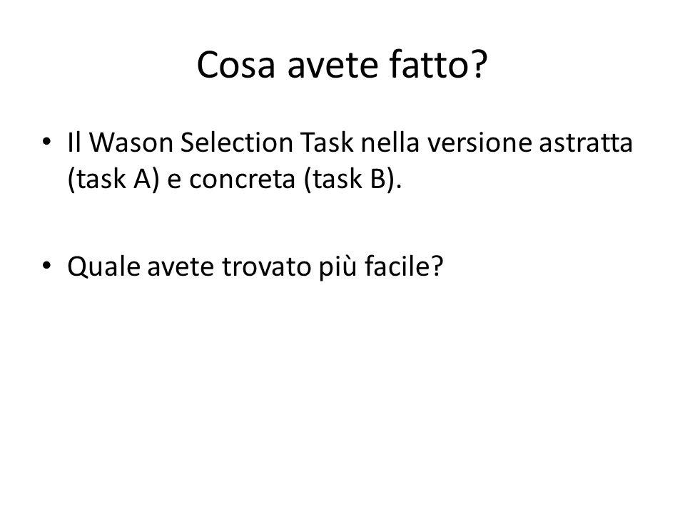 Cosa avete fatto? Il Wason Selection Task nella versione astratta (task A) e concreta (task B). Quale avete trovato più facile?