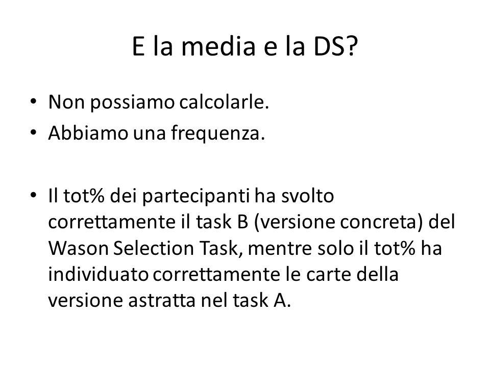 E la media e la DS? Non possiamo calcolarle. Abbiamo una frequenza. Il tot% dei partecipanti ha svolto correttamente il task B (versione concreta) del