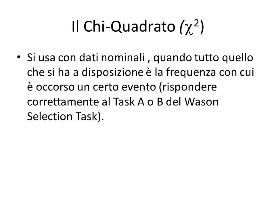 Il Chi-Quadrato ( 2 ) Si usa con dati nominali, quando tutto quello che si ha a disposizione è la frequenza con cui è occorso un certo evento (rispondere correttamente al Task A o B del Wason Selection Task).