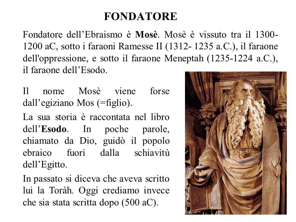 FONDATORE Fondatore dellEbraismo è Mosè.