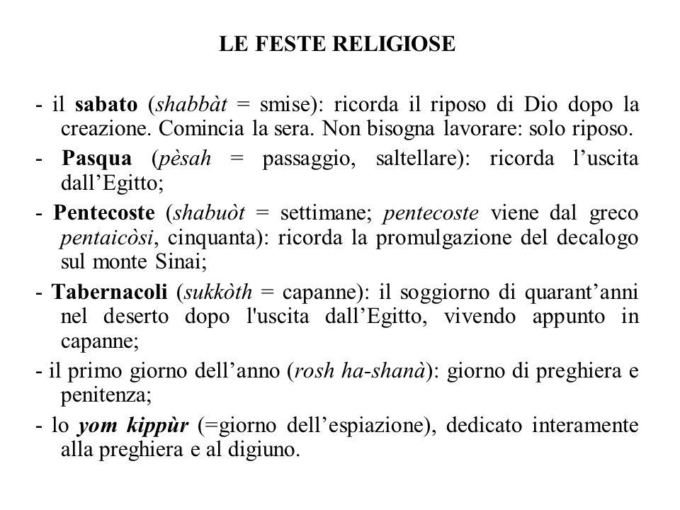 LE FESTE RELIGIOSE - il sabato (shabbàt = smise): ricorda il riposo di Dio dopo la creazione.