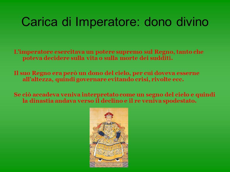 Carica di Imperatore: dono divino Limperatore esercitava un potere supremo sul Regno, tanto che poteva decidere sulla vita o sulla morte dei sudditi.
