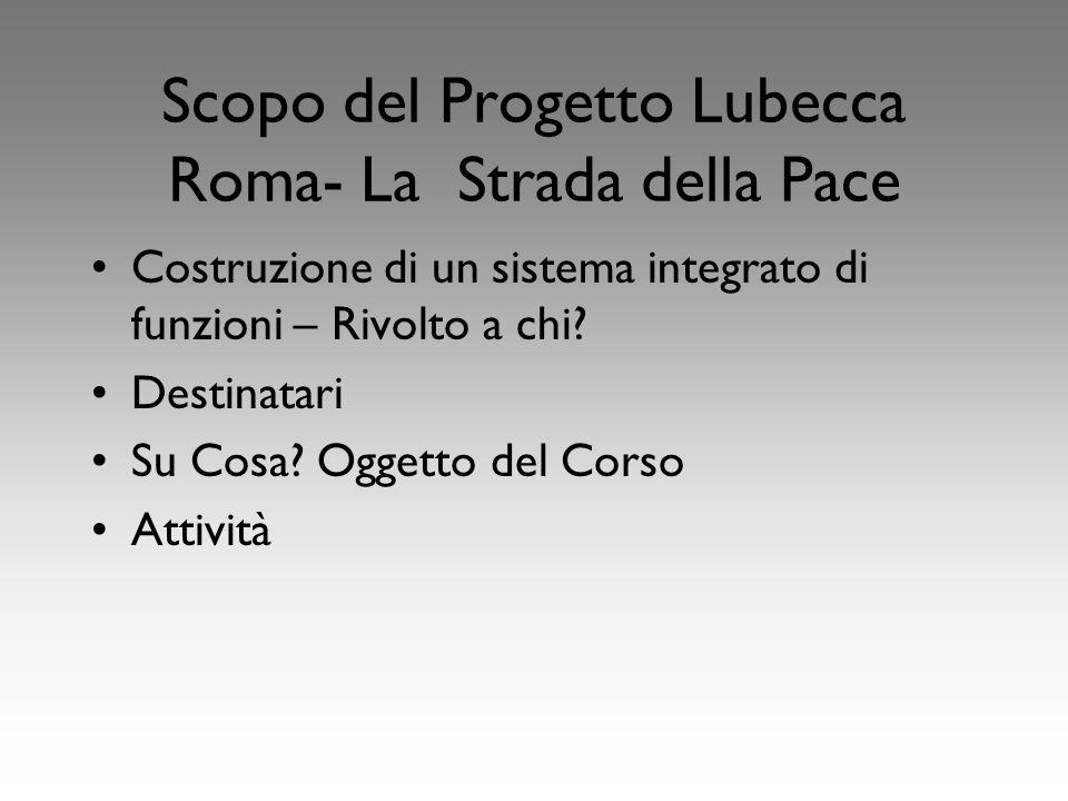 Scopo del Progetto Lubecca Roma- La Strada della Pace Costruzione di un sistema integrato di funzioni – Rivolto a chi.