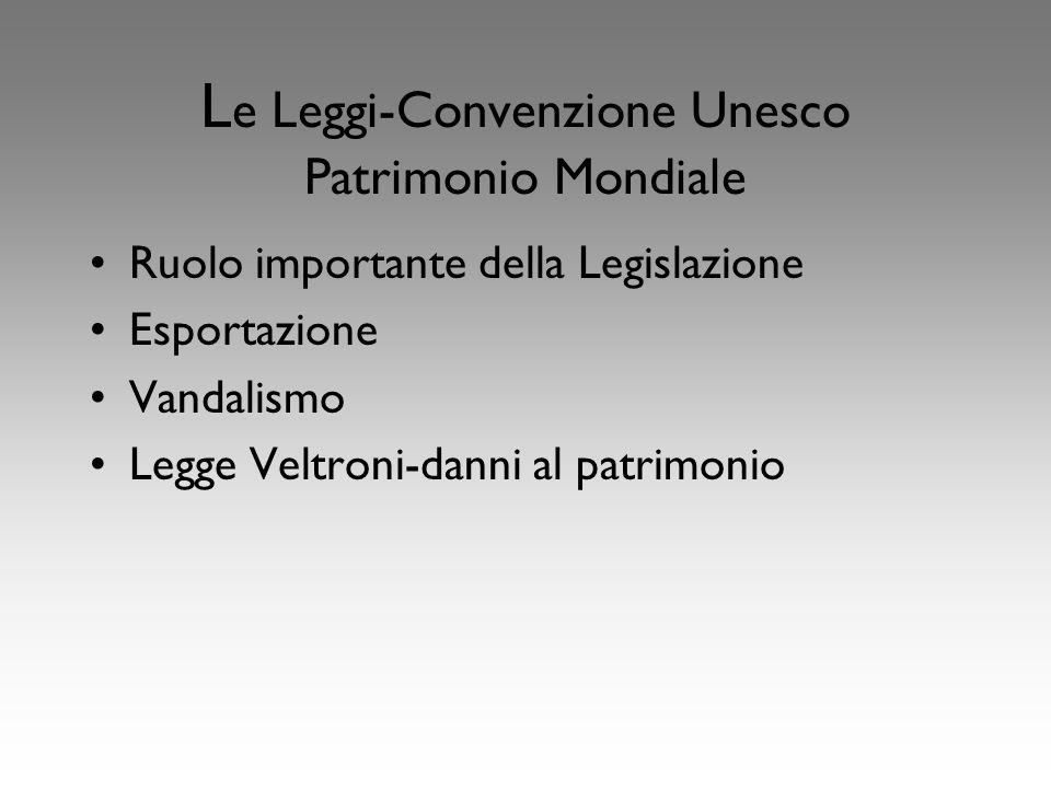 L e Leggi-Convenzione Unesco Patrimonio Mondiale Ruolo importante della Legislazione Esportazione Vandalismo Legge Veltroni-danni al patrimonio