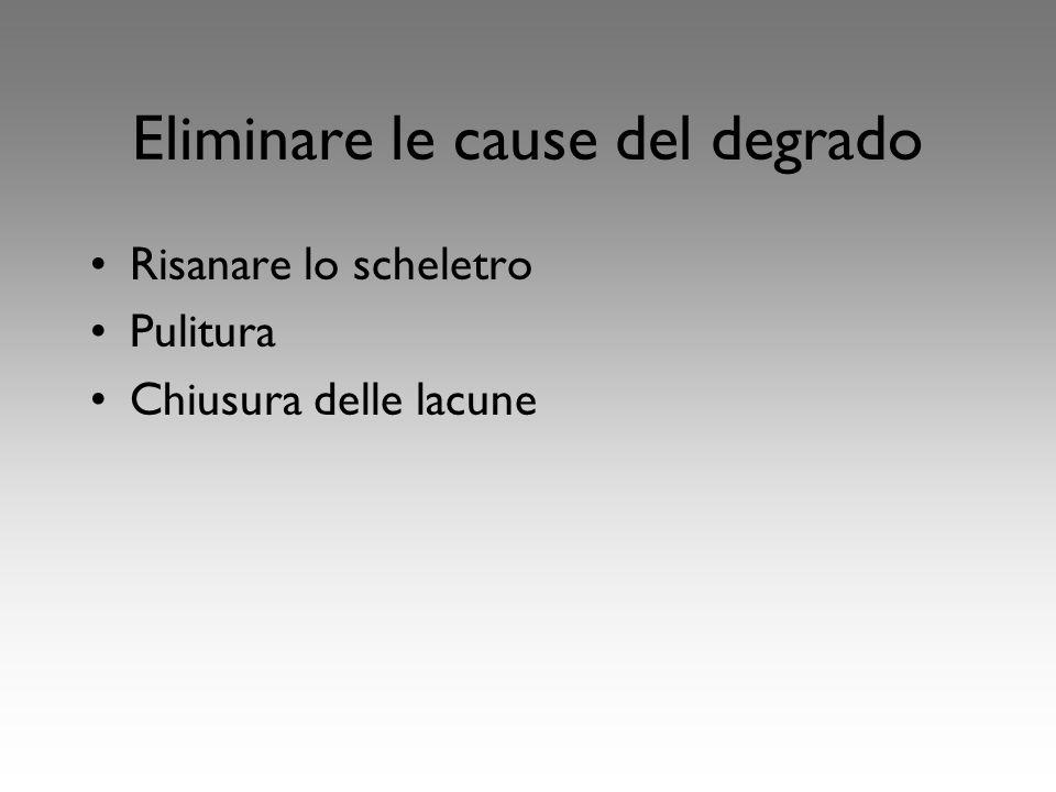 Eliminare le cause del degrado Risanare lo scheletro Pulitura Chiusura delle lacune