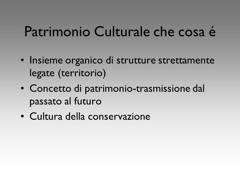 Patrimonio Culturale che cosa é Insieme organico di strutture strettamente legate (territorio) Concetto di patrimonio-trasmissione dal passato al futuro Cultura della conservazione