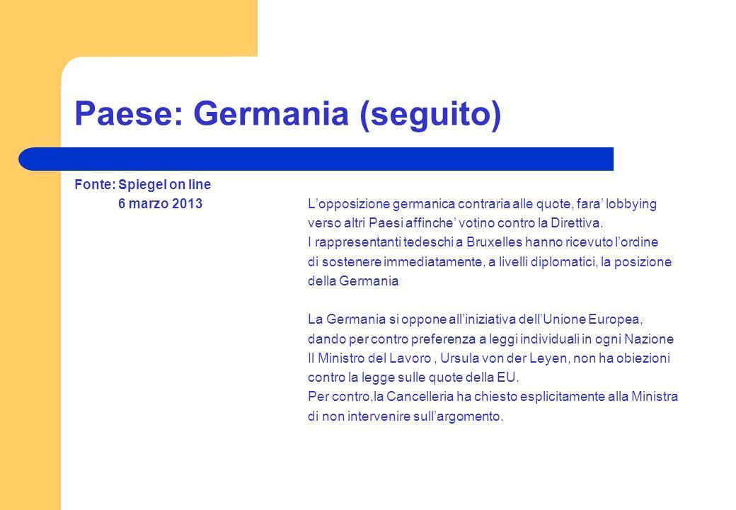 Paese: Germania (seguito) Fonte: Spiegel on line 6 marzo 2013Lopposizione germanica contraria alle quote, fara lobbying verso altri Paesi affinche vot