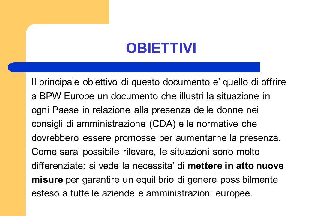 OBIETTIVI Il principale obiettivo di questo documento e quello di offrire a BPW Europe un documento che illustri la situazione in ogni Paese in relazi