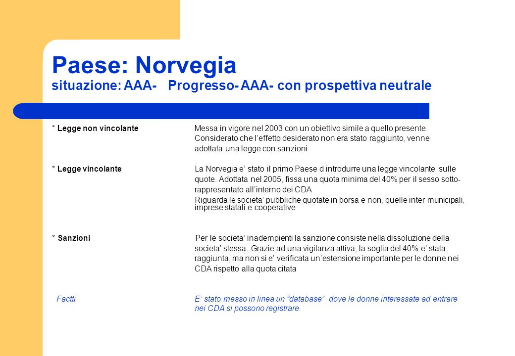 Paese: Norvegia situazione: AAA- Progresso- AAA- con prospettiva neutrale * Legge non vincolante Messa in vigore nel 2003 con un obiettivo simile a qu