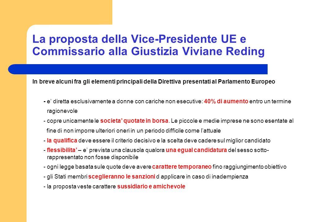 La proposta della Vice-Presidente UE e Commissario alla Giustizia Viviane Reding In breve alcuni fra gli elementi principali della Direttiva presentat