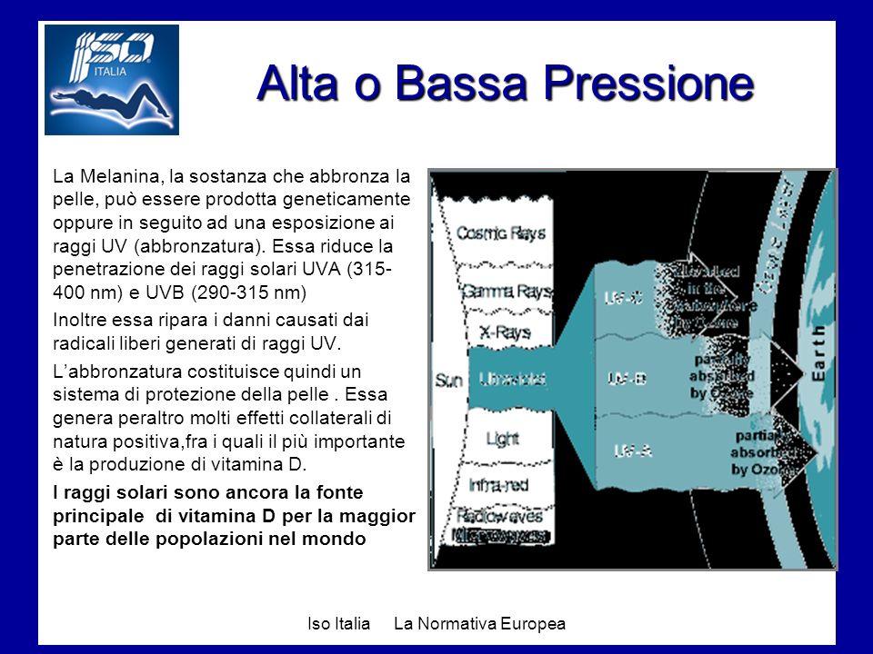 Iso Italia La Normativa Europea Alta o Bassa Pressione La Melanina, la sostanza che abbronza la pelle, può essere prodotta geneticamente oppure in seg