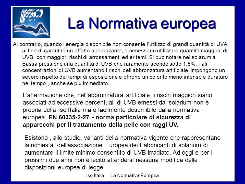 Iso Italia La Normativa Europea La Normativa europea Al contrario, quando lenergia disponibile non consente lutilizzo di grandi quantità di UVA, al fi