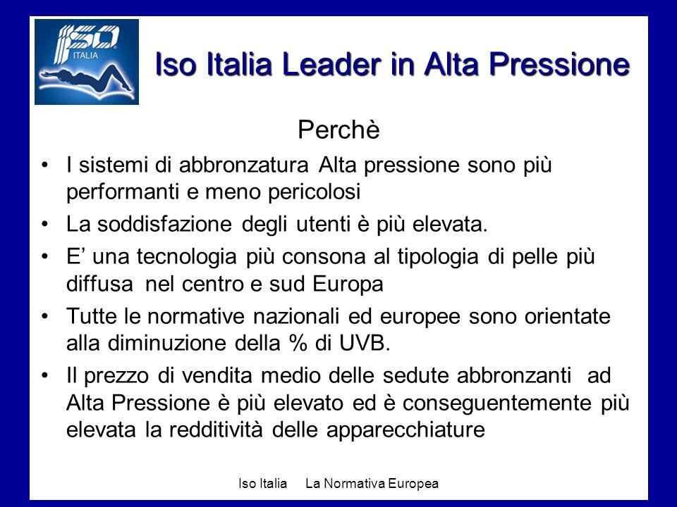 Iso Italia La Normativa Europea Iso Italia Leader in Alta Pressione Perchè I sistemi di abbronzatura Alta pressione sono più performanti e meno perico