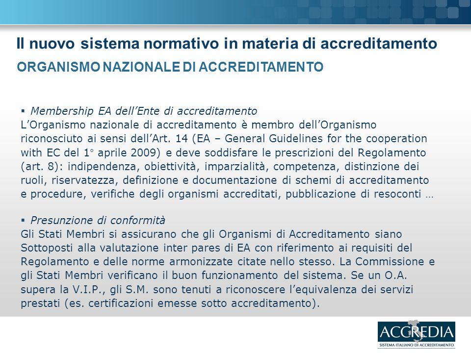 Il nuovo sistema normativo in materia di accreditamento Membership EA dellEnte di accreditamento LOrganismo nazionale di accreditamento è membro dellOrganismo riconosciuto ai sensi dellArt.