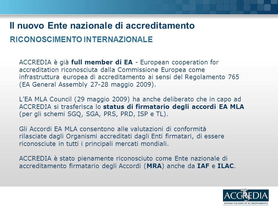 Il nuovo Ente nazionale di accreditamento ACCREDIA è già full member di EA - European cooperation for accreditation riconosciuta dalla Commissione Europea come infrastruttura europea di accreditamento ai sensi del Regolamento 765 (EA General Assembly 27-28 maggio 2009).