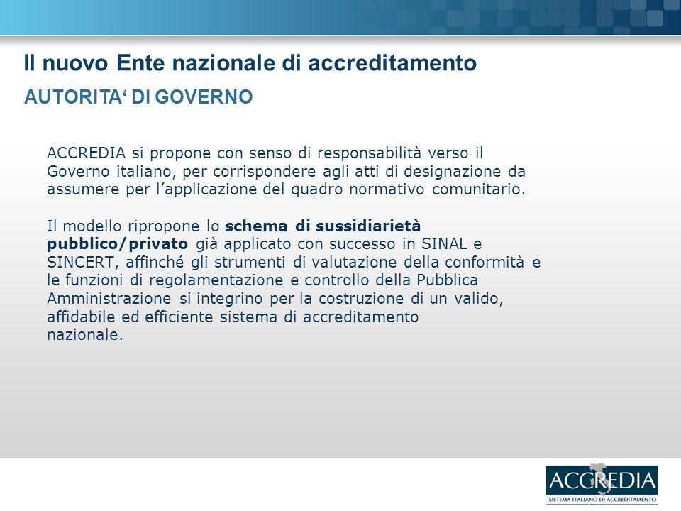Il nuovo Ente nazionale di accreditamento ACCREDIA si propone con senso di responsabilità verso il Governo italiano, per corrispondere agli atti di designazione da assumere per lapplicazione del quadro normativo comunitario.