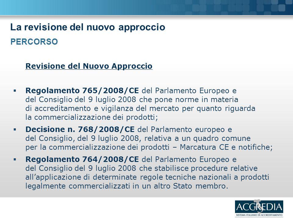 La revisione del nuovo approccio Revisione del Nuovo Approccio Regolamento 765/2008/CE del Parlamento Europeo e del Consiglio del 9 luglio 2008 che pone norme in materia di accreditamento e vigilanza del mercato per quanto riguarda la commercializzazione dei prodotti; Decisione n.
