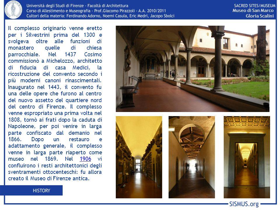 Celle dei monaci 45 cellearticolate in tre corridoi che circondano il Chiostro di SantAntonino Struttura creata per ospitare il ciclo di affreschi, interni ed esterni, di Beato Angelico e la sua scuola Le stanze sono chiuse al di sotto di una copertura a capriate Museo di San Marco Gloria Scalini