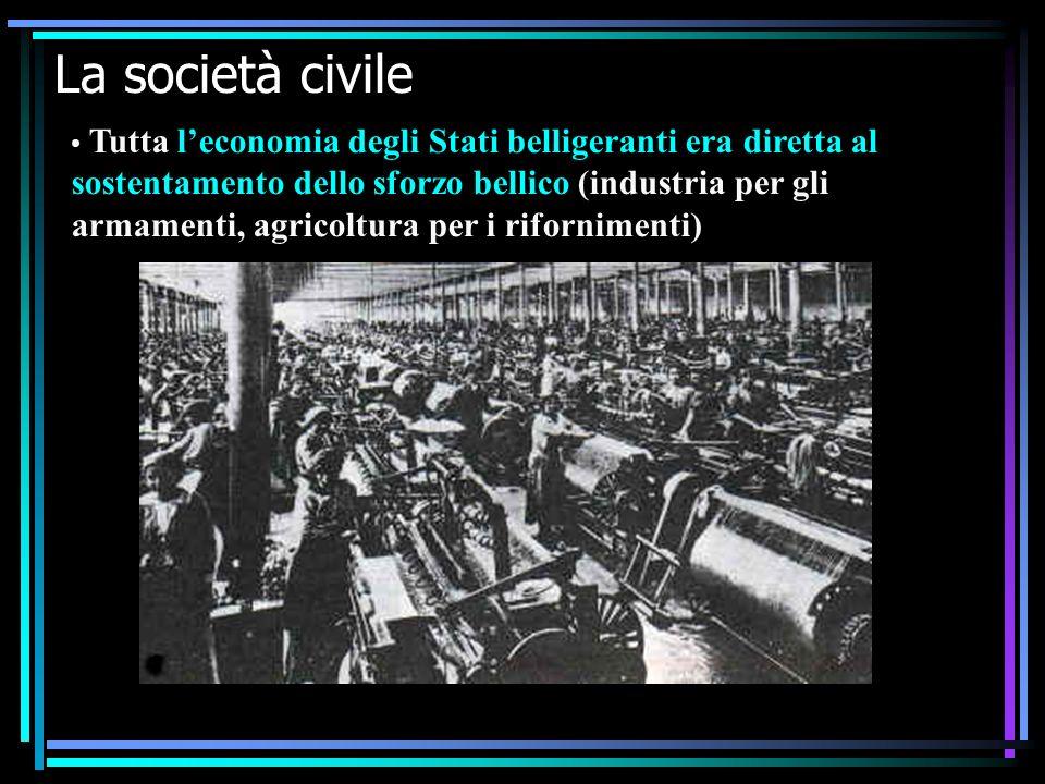 IV F La prima guerra mondiale16 La società civile Tutta leconomia degli Stati belligeranti era diretta al sostentamento dello sforzo bellico (industria per gli armamenti, agricoltura per i rifornimenti)