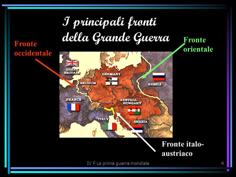 IV F La prima guerra mondiale4 I principali fronti della Grande Guerra Fronte occidentale Fronte orientale Fronte italo- austriaco