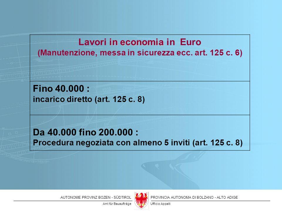AUTONOME PROVINZ BOZEN - SÜDTIROLPROVINCIA AUTONOMA DI BOLZANO - ALTO ADIGE Amt für BauaufträgeUfficio Appalti in economia Lavori in economia in Euro