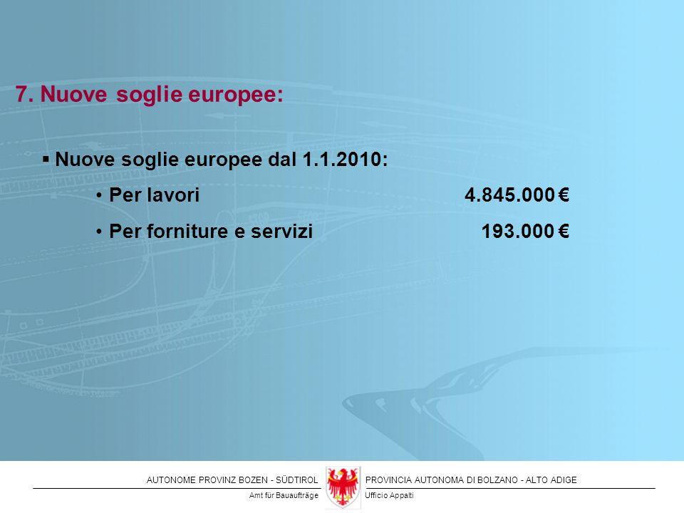 AUTONOME PROVINZ BOZEN - SÜDTIROLPROVINCIA AUTONOMA DI BOLZANO - ALTO ADIGE 7. Nuove soglie europee: Nuove soglie europee dal 1.1.2010: Per lavori 4.8