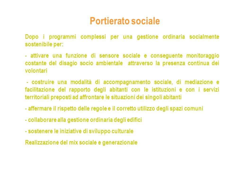Portierato sociale Dopo i programmi complessi per una gestione ordinaria socialmente sostenibile per: - attivare una funzione di sensore sociale e con
