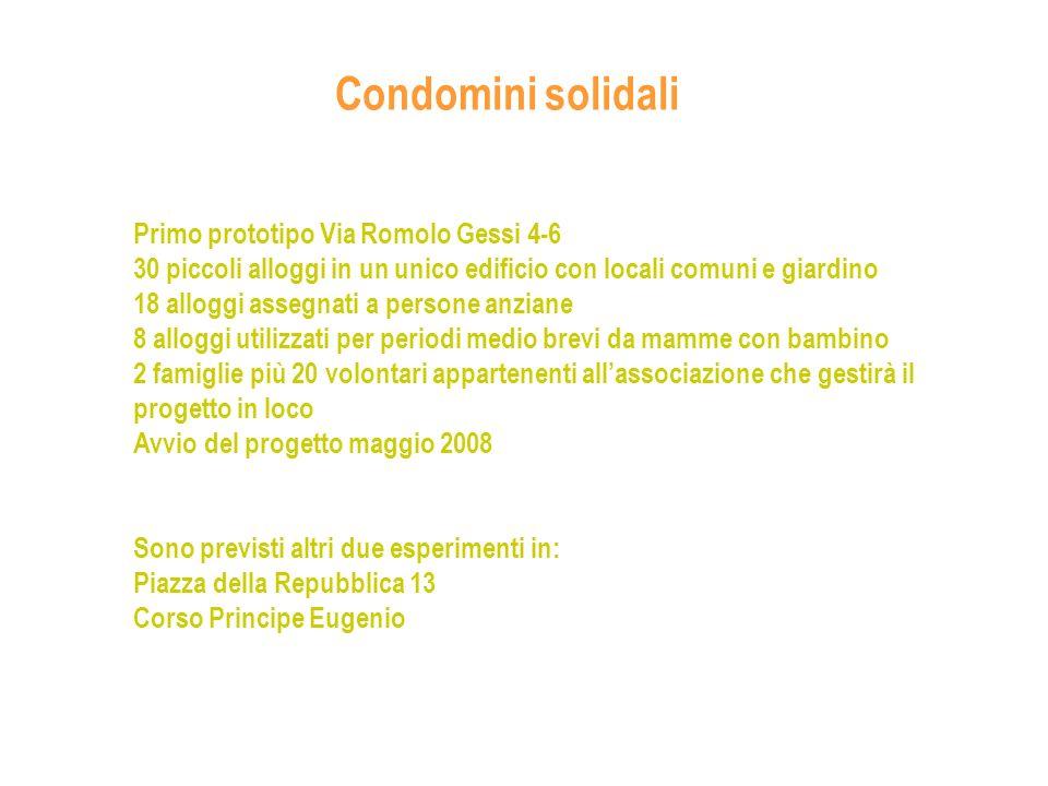 Condomini solidali Primo prototipo Via Romolo Gessi 4-6 30 piccoli alloggi in un unico edificio con locali comuni e giardino 18 alloggi assegnati a pe